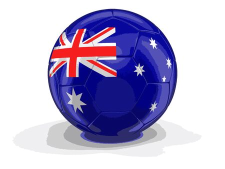 australian culture: Soccer football with Australian flag. Image with clipping path