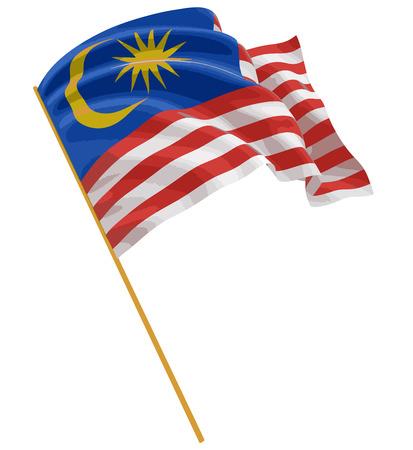 3D-vlag van Maleisië met weefsel oppervlaktetextuur. Witte achtergrond. Stock Illustratie