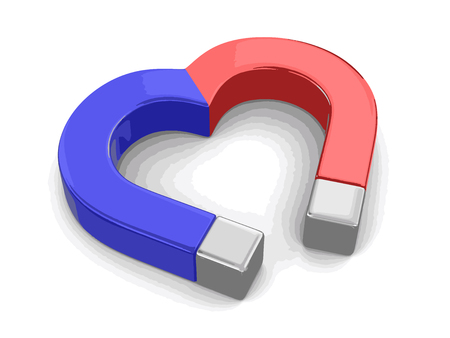 magnetic field: Magnet heart. Image with clipping path