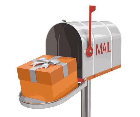 Boîte aux lettres ouverte avec cadeau. Image avec un tracé de détourage Banque d'images - 68583507