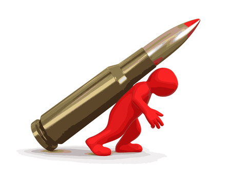 casings: Man and Bullet. Image with clipping path. Illustration