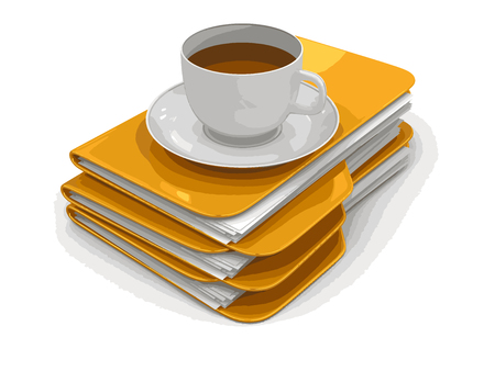 storage compartment: Folder and files with cup of coffee. Image with clipping path