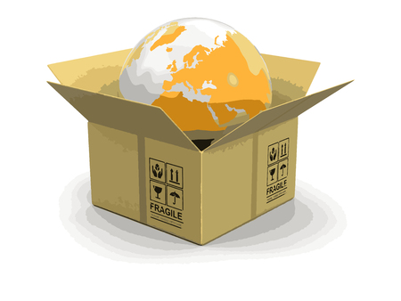 unpacking: Open package with Globe. Image with clipping path