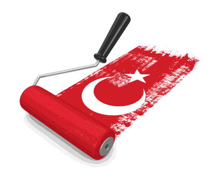 worktool: Paint roller with Turkish flag. Image with clipping path