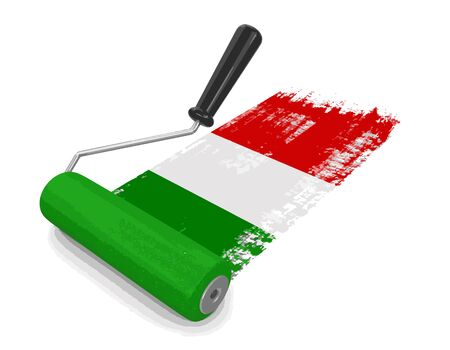 Paint roller with Italiian flag. Image with clipping path Vetores
