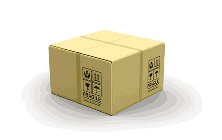unpacking: Close package. Image with clipping path