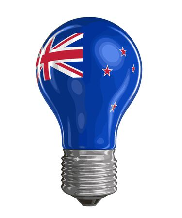 Light bulb with New Zealand flag. Image with clipping path Vetores