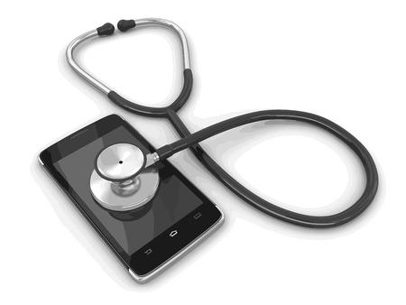 Touchscreen-Smartphone und Stethoskop. Bild mit Clipping-Pfad.
