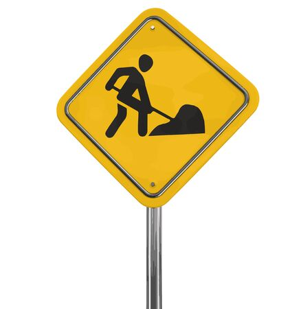 multiple lane highway: Road work sign. Image with clipping path Illustration