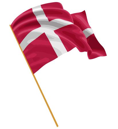 生地表面のテクスチャと 3 D のデンマークの旗。白い背景。  イラスト・ベクター素材