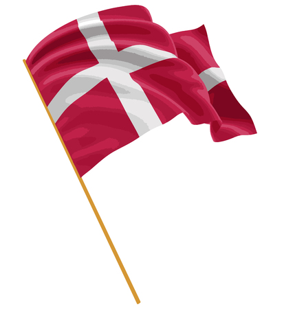 3D Danish flag with fabric surface texture. White background.