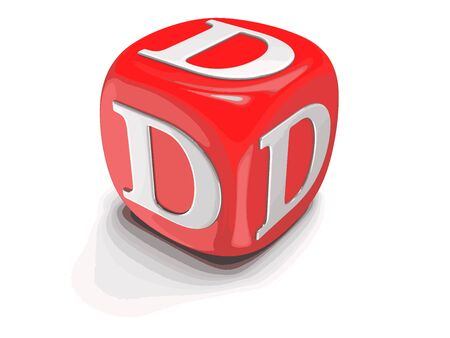 Dices with letter D. Image with clipping path