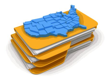 americas: Folders and files with map of USA. Image with clipping path