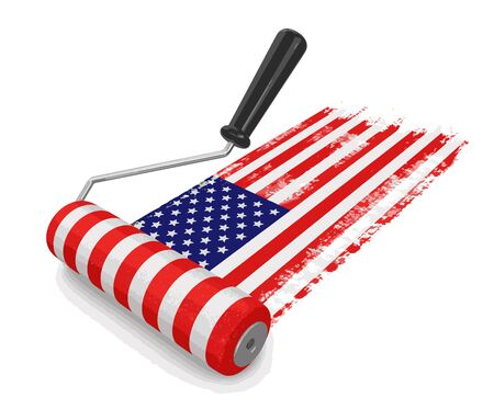 paintroller: Paint roller with USA flag. Image with clipping path Illustration