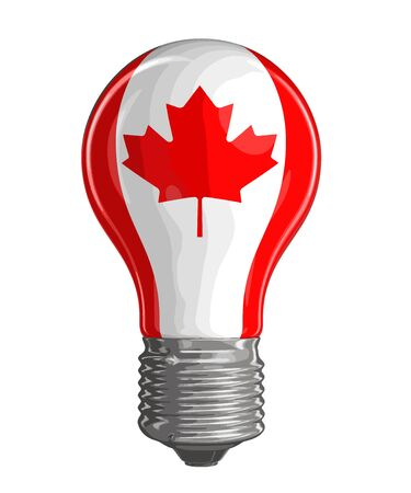 canadian flag: Light bulb with Canadian Flag. Illustration