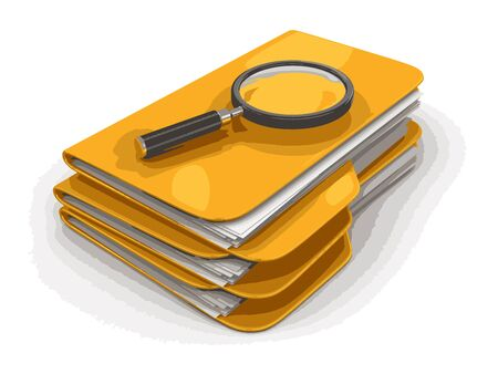 3D Folders with Magnifying Glass. Image with clipping path Illustration