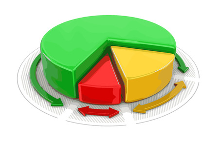 Pie chart in 3D. Image with clipping path Illustration