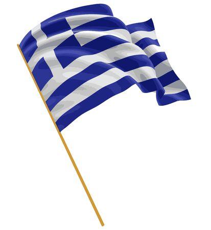 Griechische Flagge 3D mit Gewebeoberflächenbeschaffenheit. Weißer Hintergrund.