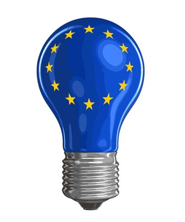 Light bulb with flag of the European union. Image with clipping path