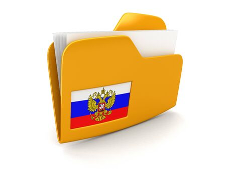 folder and lists with Russian Flag. Image with clipping path