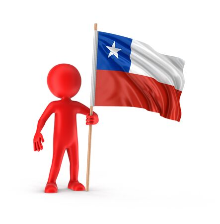 chilean: Man and Chilean flag. Image with clipping path