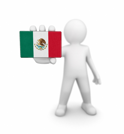 drapeau mexicain: Man and Mexican flag. Image with clipping path Banque d'images