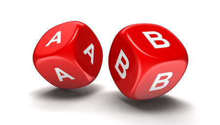 Dices with letter A, B. Image with clipping path