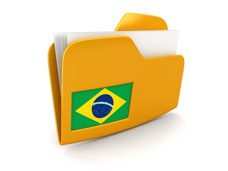 folder and lists with Brazilian Flag. Image with clipping path Stock Photo
