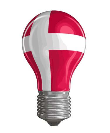 danish flag: Light bulb with Danish flag. Image with clipping path Illustration
