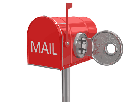 registered mail: Mailbox and lock. Image with clipping path
