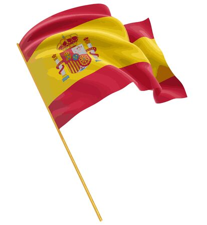 3D Spanish flag with fabric surface texture. White background.