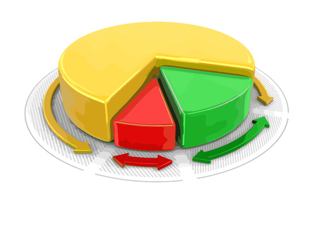 path to wealth: Pie chart in 3D. Image with clipping path Illustration