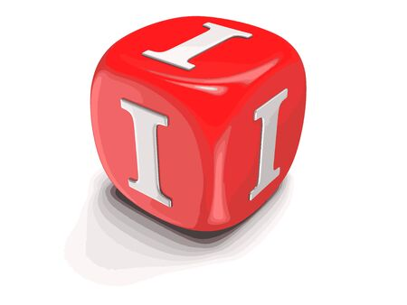 Dices with letter I. Image with clipping path Illustration