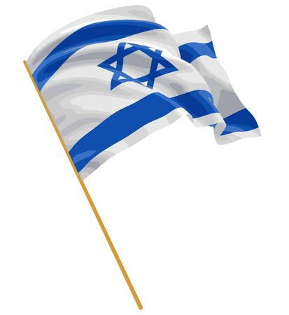 3D Israeli flag with fabric surface texture. White background.