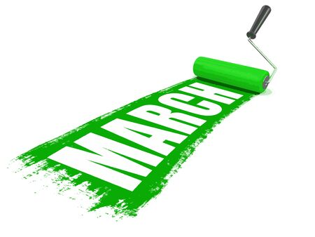 Paint roller with march. Image with clipping path