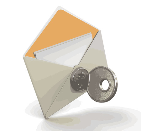 Letter with lock. Image with clipping path Illustration