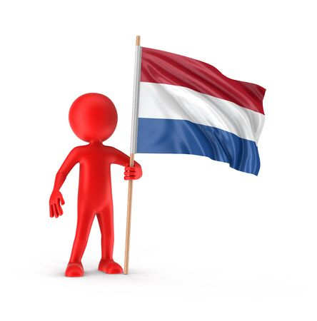netherlands flag: Man and Netherlands flag. Image with clipping path