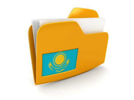 folder and lists with Kazakh Flag. Image with clipping path Stok Fotoğraf