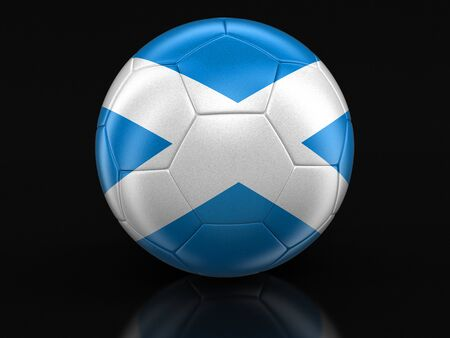 scottish flag: Soccer football with Scottish flag.