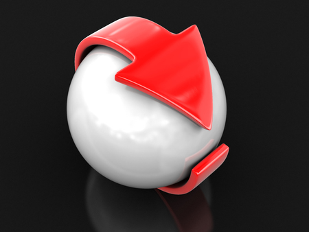 Arrow around sphere. Image with clipping path