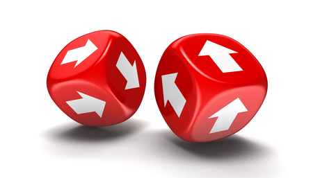 Dices with arrows. Image with clipping path