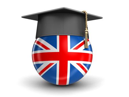 Graduation cap and UK flag.