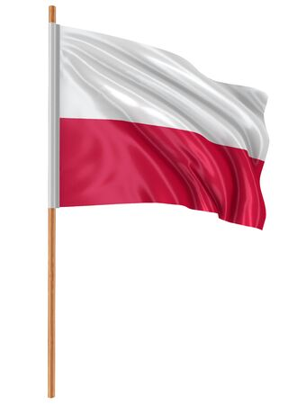 bandera de polonia: 3D Polish flag with fabric surface texture. White background.