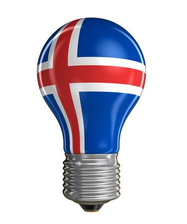 icelandic: Light bulb with Icelandic flag. Image with clipping path
