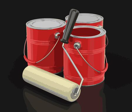 Paint roller and Cans of paint. Image with clipping path