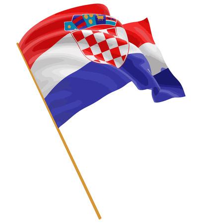 3D Croatian flag with fabric surface texture. White background. Ilustração