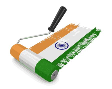 paintroller: Paint roller with Indian flag. Image with clipping path