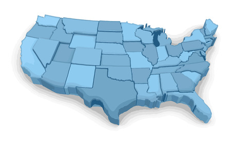 americas: Map of USA. Image with clipping path. Illustration