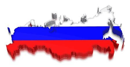 Map of Russia. 3d render Image. Image with clipping path Illustration