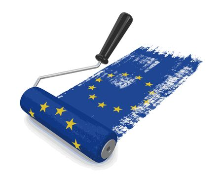 Paint roller with flag of the European union. Image with clipping path